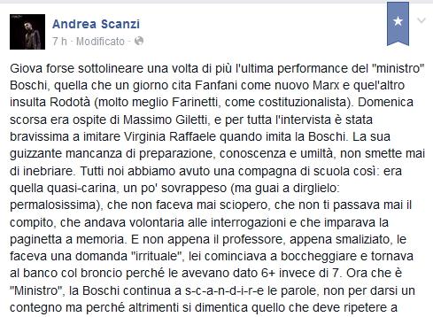 Lo scarso senso dell'umorismo di Scanzi e il suo folle amore per la Boschi